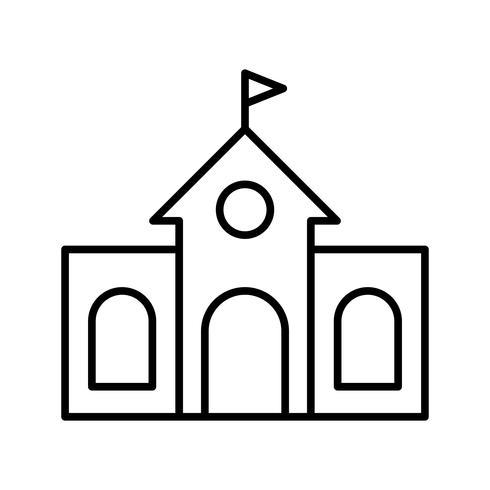 icono de linea de biblioteca negro vector