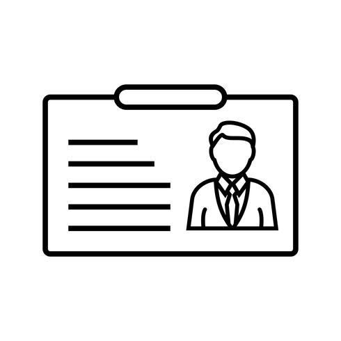 Tarjeta de identificación línea icono negro