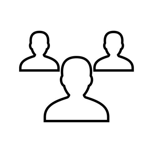 Línea de empleados icono negro vector