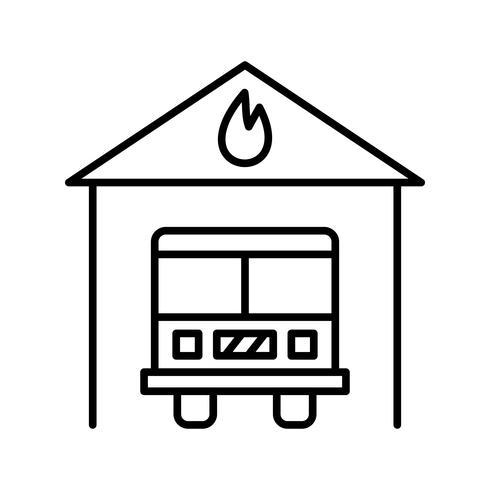 Brandstation Linje Svart Ikon