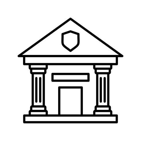 Estación de policía línea icono negro