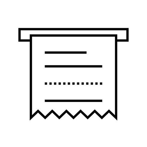 icono de línea negra de recibo de cajero automático vector