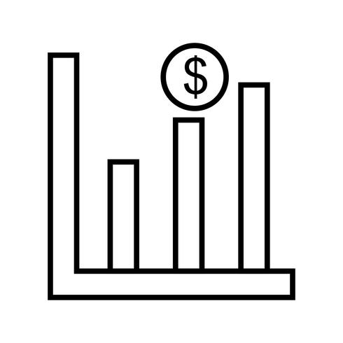 Línea de ganancias icono negro