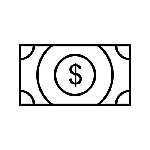 línea de recepción de efectivo icono negro