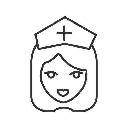 Infermiera linea icona nera