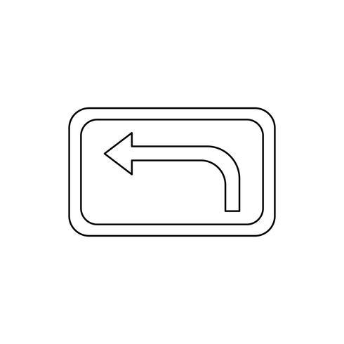 Svolta a sinistra avanti Icona linea nera