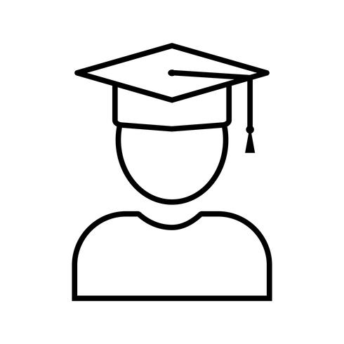 Icono de línea de estudiante negro