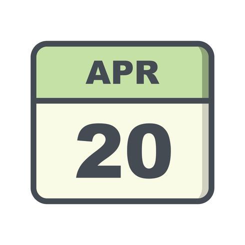 20 de abril Fecha en un calendario de un solo día