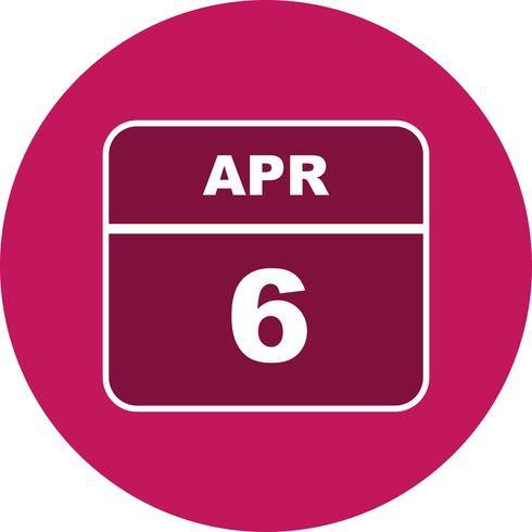 6. April Datum an einem Tagkalender