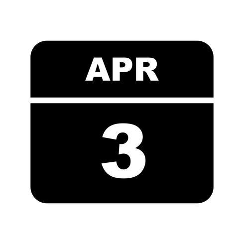 3 de abril Fecha en un calendario de un solo día