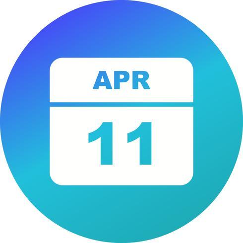 11 de abril Fecha en un calendario de un solo día