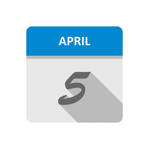 5 de abril Fecha en un calendario de un solo día
