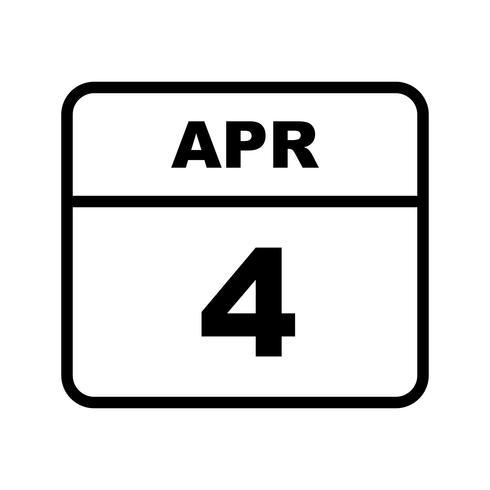 4 de abril data em um calendário único dia vetor