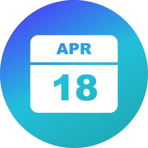 18 de abril Fecha en un calendario de un solo día vector