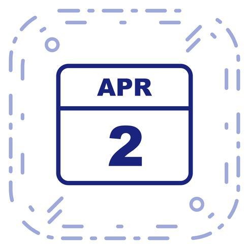 2 de abril Fecha en un calendario de un solo día vector