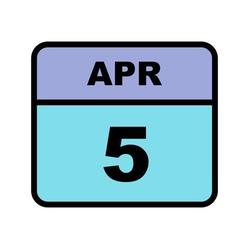 5 april Datum op een eendaagse kalender