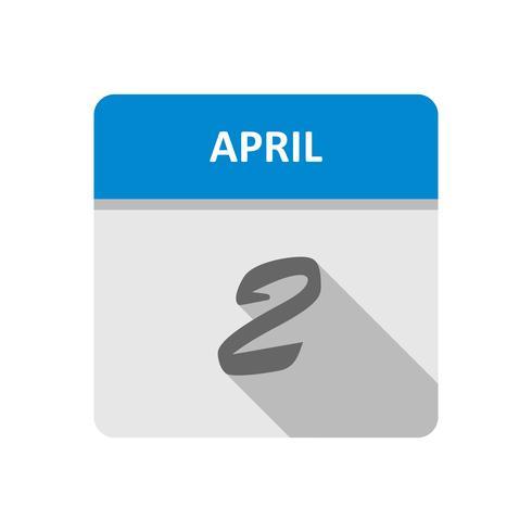 April 2nd Date on a Single Day Calendar