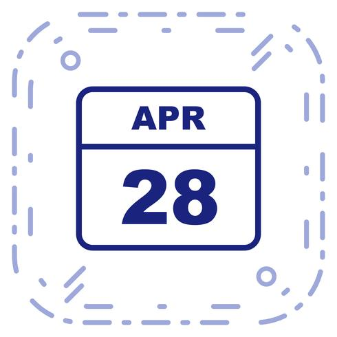 28 april Datum på en enkel dagskalender