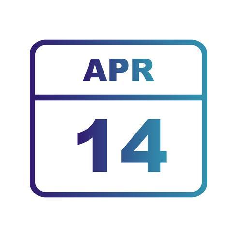 14 april Datum op een eendaagse kalender