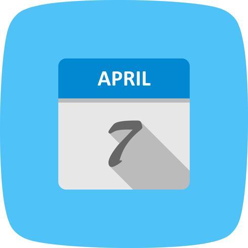 7 april Datum på en enkel dagskalender
