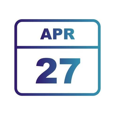 27 de abril Fecha en un calendario de un solo día