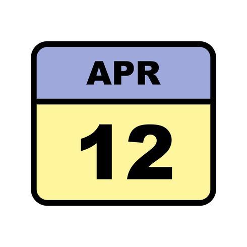 12 aprile Data in un calendario per un solo giorno