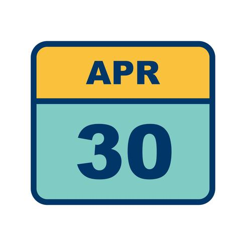 30 april Datum på en enkel dagskalender