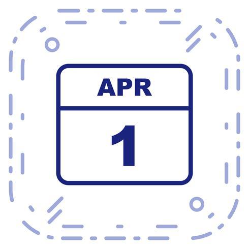 April 1st Date on a Single Day Calendar