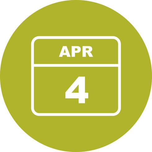 April 4th Date on a Single Day Calendar vector