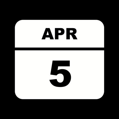 Data de 5 de abril em um calendário de dia único