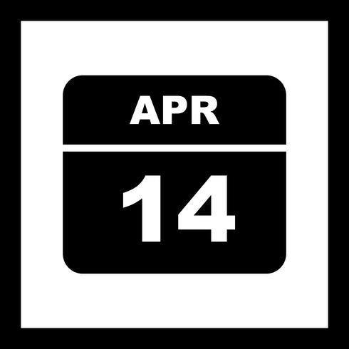 14 april Datum op een eendaagse kalender vector
