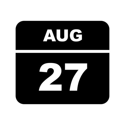 August 27th Date on a Single Day Calendar