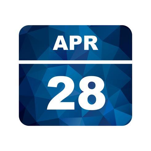 28 april Datum op een eendaagse kalender