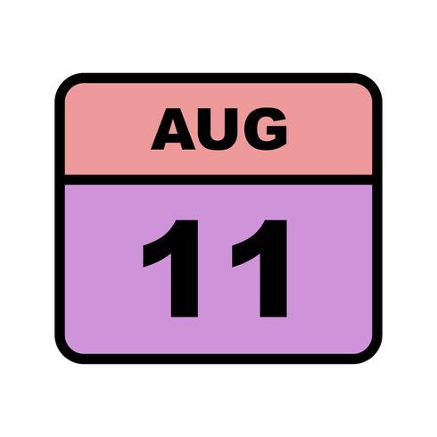 11 augusti Datum på en enkel dagskalender
