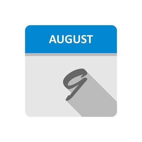 9 de agosto, fecha en un calendario de un solo día