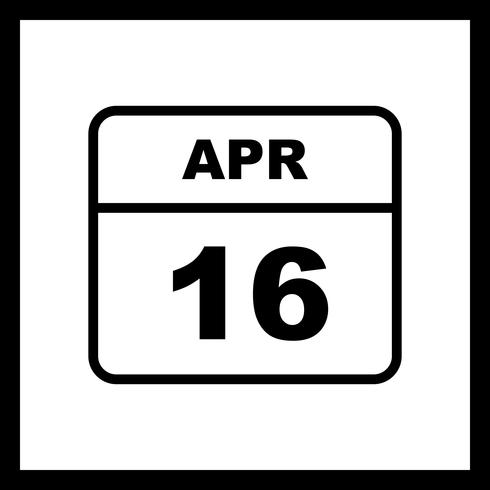 April 16th Date on a Single Day Calendar
