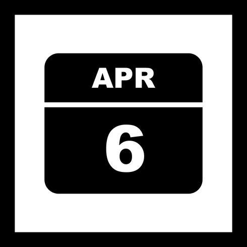 6 april Datum op een eendaagse kalender vector