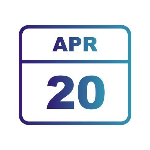 20 april Datum op een eendaagse kalender