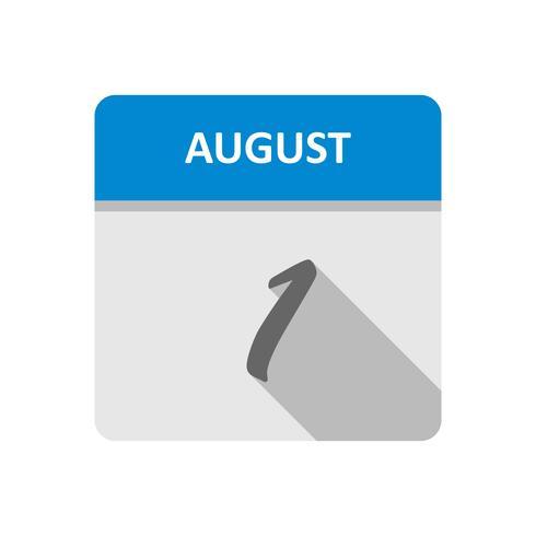 1 ° agosto Data in un giorno unico calendario