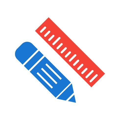 Pencil & Ruler Icon Design vector