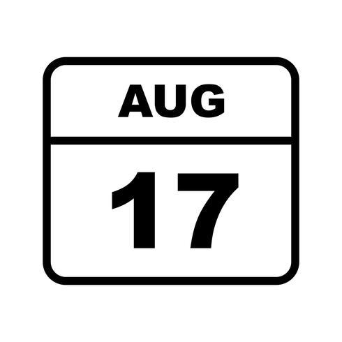 17 augustus Datum op een dagkalender