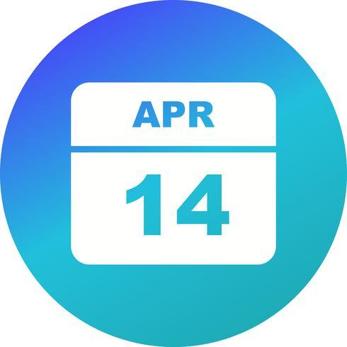 14 avril Calendrier d'un jour vecteur
