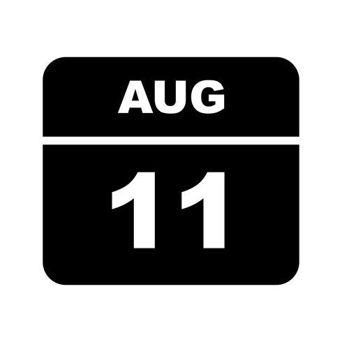 11 augustus Datum op een eendaagse kalender vector