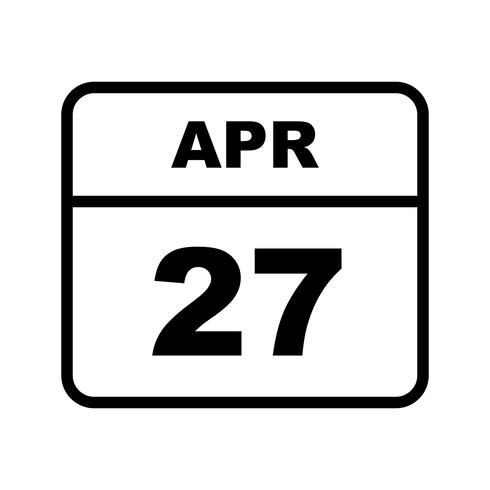 April 27th Date on a Single Day Calendar