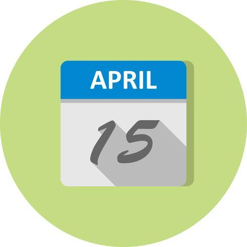 15 aprile Data su un calendario per un solo giorno