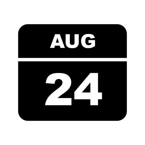 24 de agosto Data em um calendário único dia
