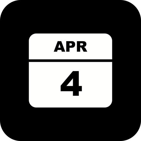April 4th Date on a Single Day Calendar