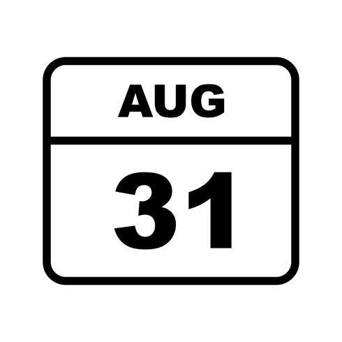 August 31st Date on a Single Day Calendar
