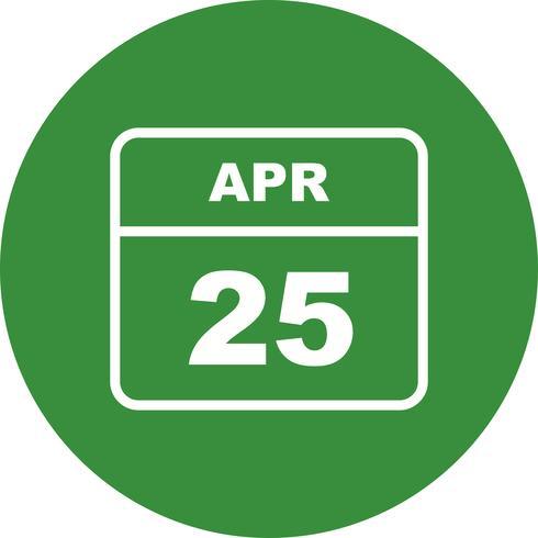 25 april Datum på en enkel dagskalender vektor