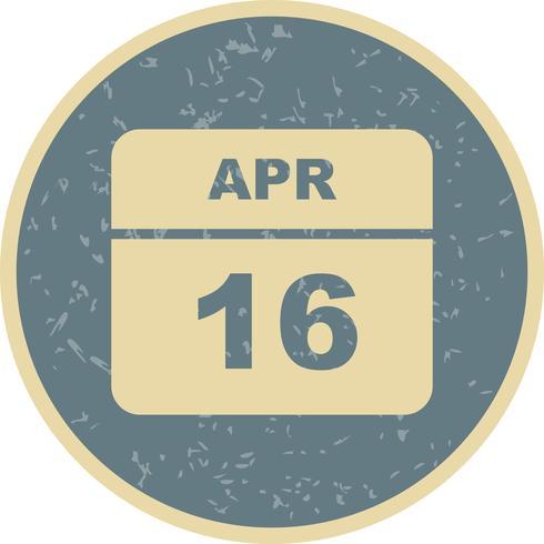 16 de abril Fecha en un calendario de un solo día